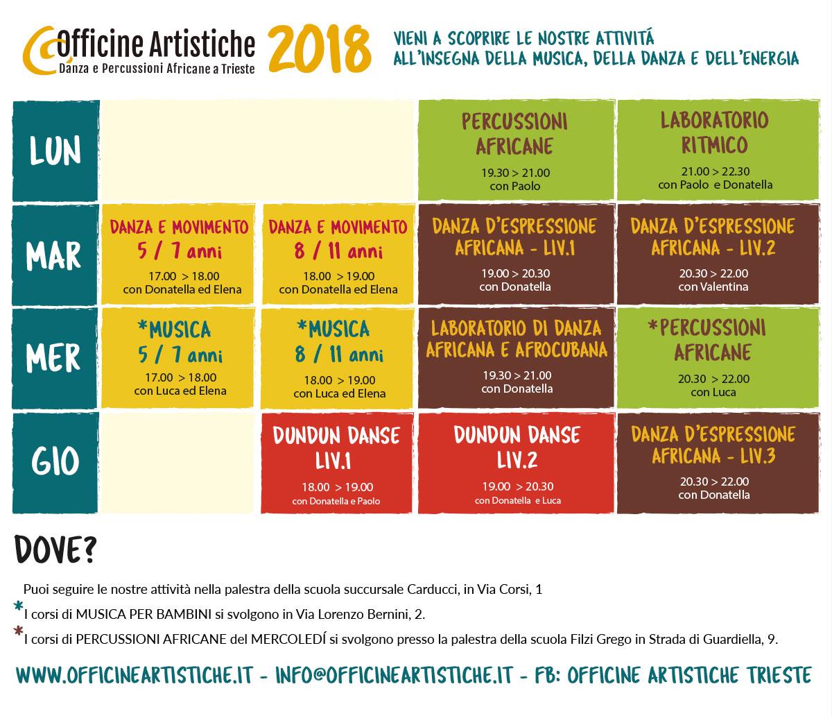 Orario Officine Artistiche 2018