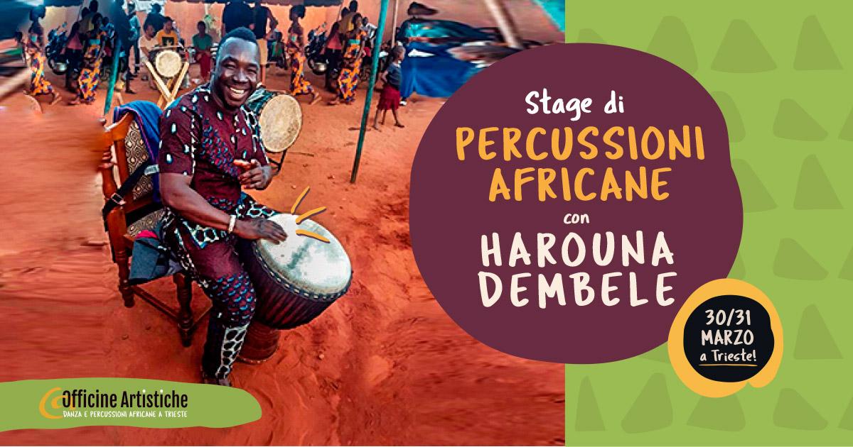 Stage di percussioni africane con Harouna Dembele